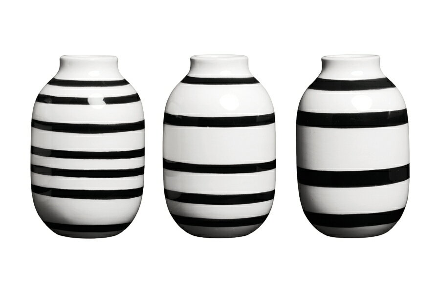 kahler ケーラーomaggio vase h80 3-pcs-black ミニ オマジオ フラワーベース ブラック h:  12800の写真