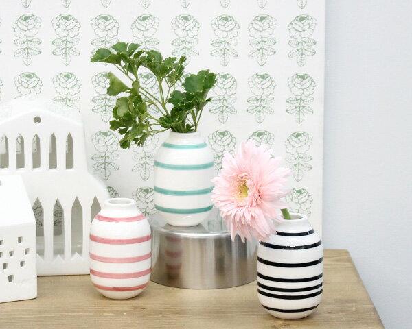 ケーラー omaggioオマジオ フラワーベース/花瓶     黒/ローズ/ライトグリーンの写真