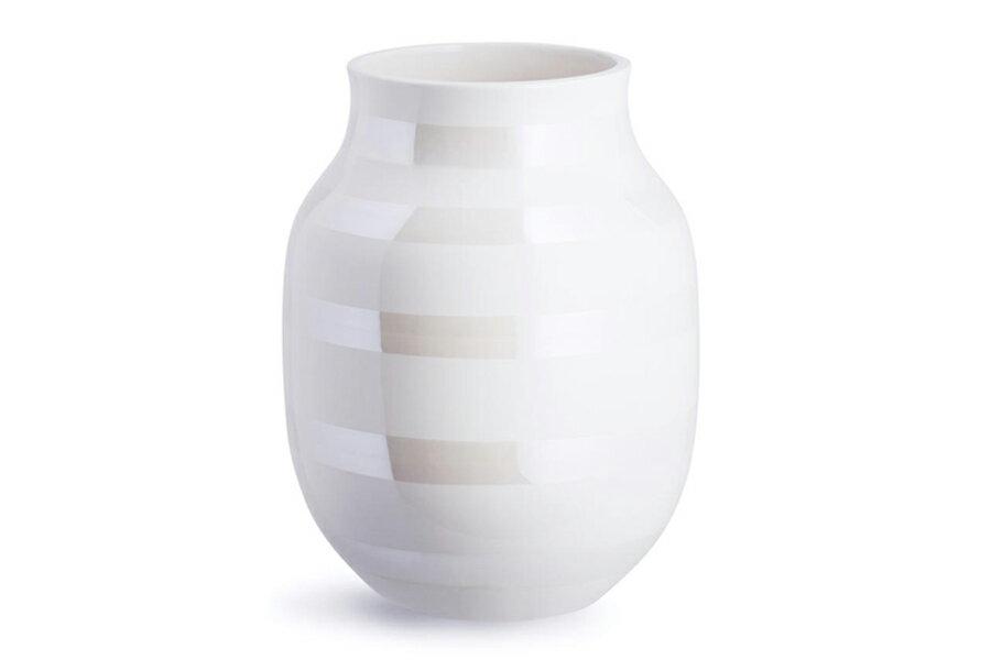 KAHLER ケーラー オマジオ フラワーベース Mサイズ パール 白い花瓶 Omaggio Pearl vase M1605の写真