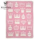 (クリッパン KLIPPAN 2013 COTTON BLANKETAS) ミニ ブランケット (膝掛け) ピンク 北欧柄 ロイヤル (王冠・クラウン)画像