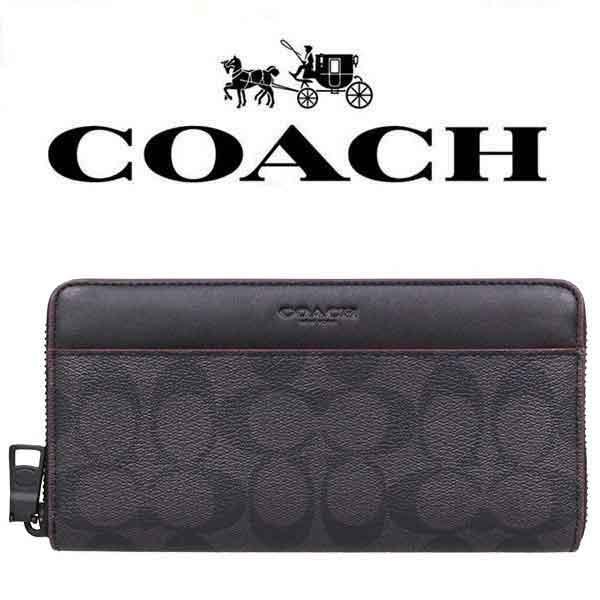 コーチ Coach 長財布 メンズ シグネチャー ブラック オックスブラッド F25517 N3a アウトレット